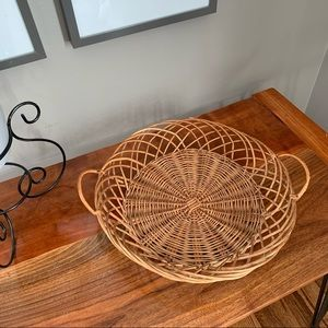 Woven Wicker Hanging Table Basket Round Decoration